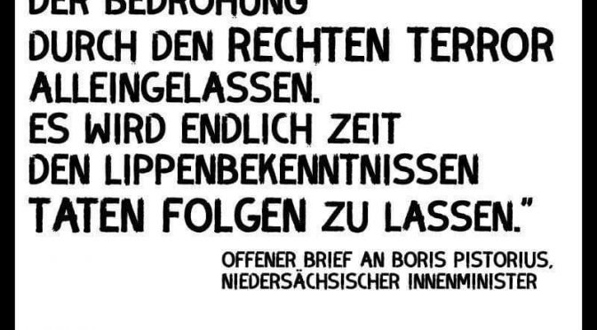 Rechte Gewalt endlich ernst nehmen und handeln – Offener Brief an den niedersächsischen Innenminister Boris Pistorius